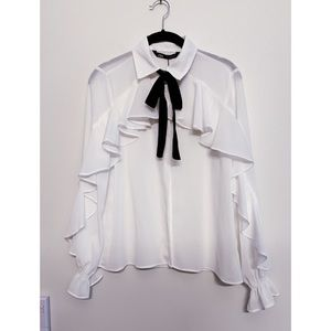 Zara Ruffle Button Down Shirt with Bow Tie